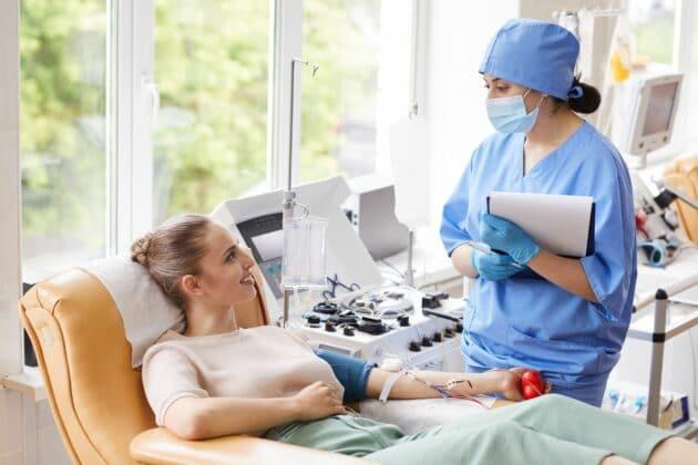 dialysis nurse talking to patient